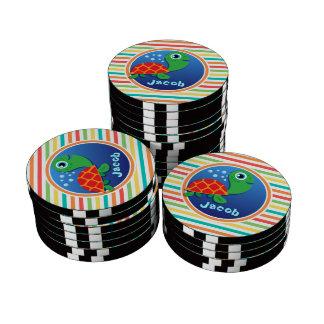 Sea Turtle; Bright Rainbow Stripes Poker Chips Set