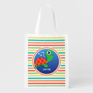Sea Turtle Bright Rainbow Stripes Reusable Grocery Bags