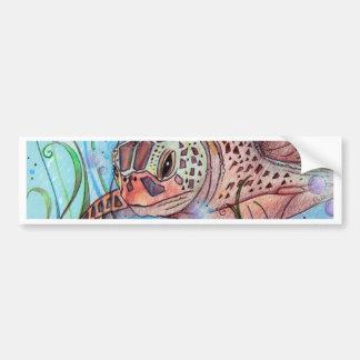 Sea Turtle Buble Design Bumper Sticker