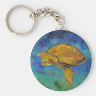Sea Turtle by Paula Atwell Basic Round Button Key Ring