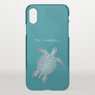 Sea Turtle Clear Bling Monogram iPhone X Case