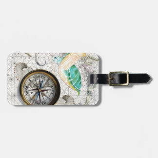 Sea Turtle Compass Vintage Luggage Tag