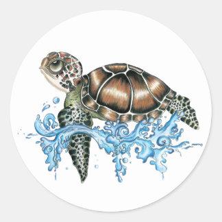 sea turtle design classic round sticker