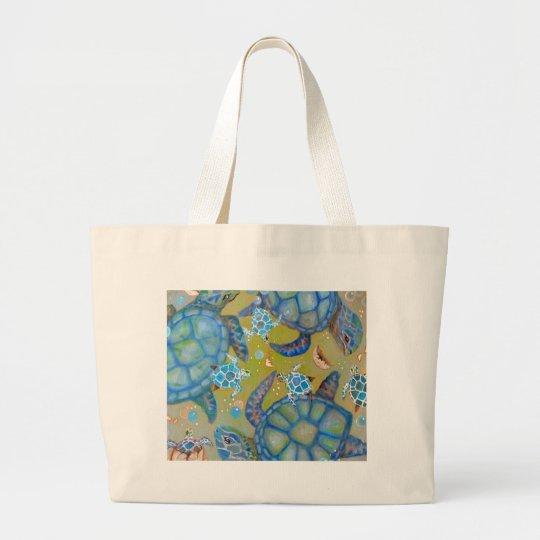 Sea Turtle Design Large Tote Bag