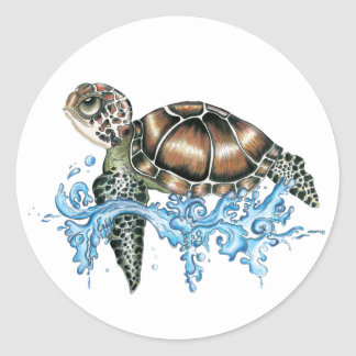 sea turtle design round sticker