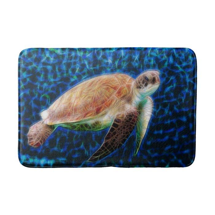 Sea Turtle Fractal Art Bath Mats
