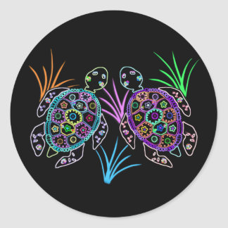 Sea Turtle Glow Classic Round Sticker