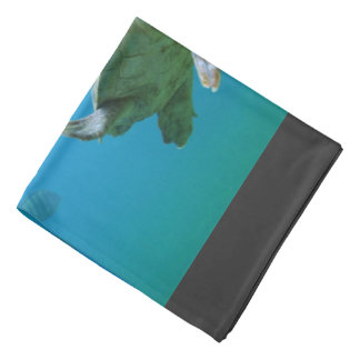 Sea turtle in blue water head kerchiefs
