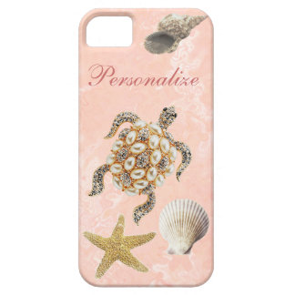 Sea Turtle Jewel Print, Starfish & Sea Shells iPhone 5 Case