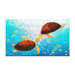"Sea Turtle Kiss Medium - ""Float Up"" Stretched Canvas Prints"