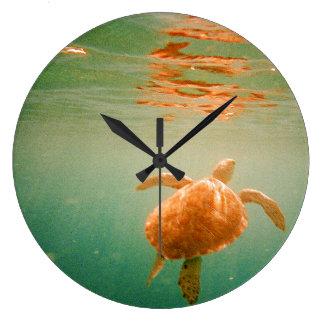 Sea Turtle Lage Wall Clock
