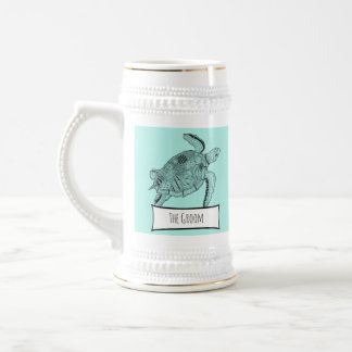 Sea Turtle Lineart Design Beer Stein