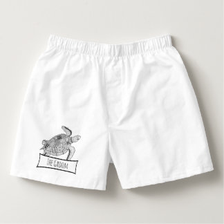 Sea Turtle Lineart Design Boxers