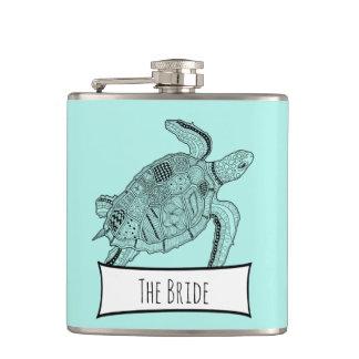 Sea Turtle Lineart Design Flasks