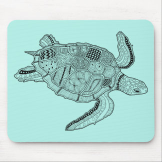 Sea Turtle Lineart Design Mouse Mat