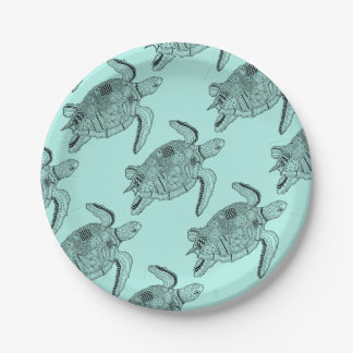 Sea Turtle Lineart Design Paper Plate