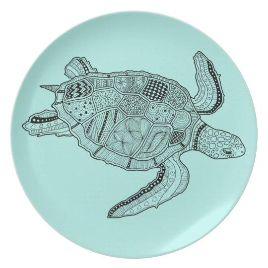 Sea Turtle Lineart Design Plate