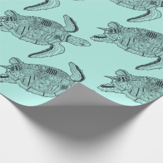 Sea Turtle Lineart Design Wrapping Paper