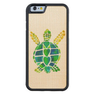 Sea Turtle Love on Maple Carved Maple iPhone 6 Bumper Case