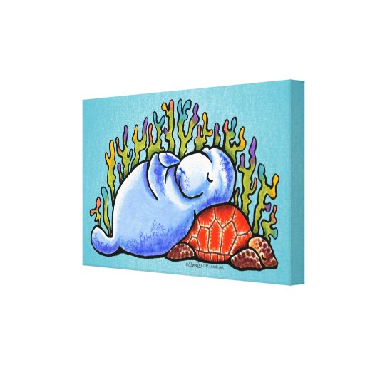 Sea Turtle Manatee Slumber Party Off-Leash Art™ Canvas Print