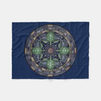 Sea Turtle Mandala Green Blue Brown Ocean Water Fleece Blanket