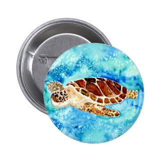 sea turtle marine sealife watercolor painting 6 cm round badge