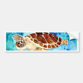 sea turtle marine sealife watercolor painting bumper sticker
