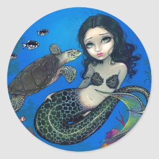"""Sea Turtle Mermaid"" Sticker"
