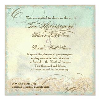 Sea Turtle Modern Coastal Ocean Beach Swirls Style 13 Cm X 13 Cm Square Invitation Card