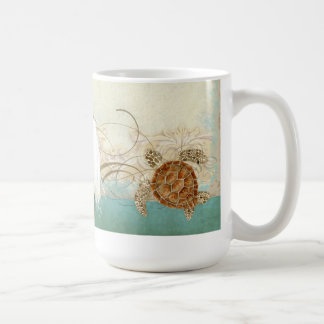 Sea Turtle Modern Coastal Ocean Beach Swirls Style Coffee Mug