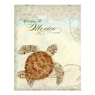 Sea Turtle Modern Coastal Ocean Beach Swirls Style Personalized Flyer