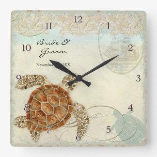 Sea Turtle Modern Coastal Ocean Beach Swirls Style Wall Clock