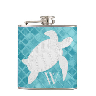 Sea Turtle on Aqua Sea Glass Monogram Flasks