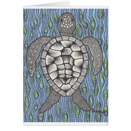 Sea turtle on blue card