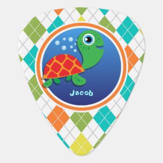 Sea Turtle on Colorful Argyle Pattern Pick