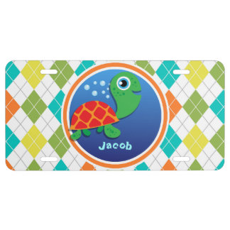 Sea Turtle on Colorful Argyle Pattern License Plate