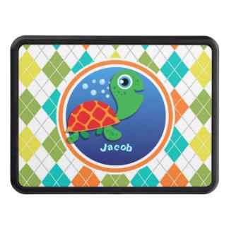 Sea Turtle on Colorful Argyle Pattern