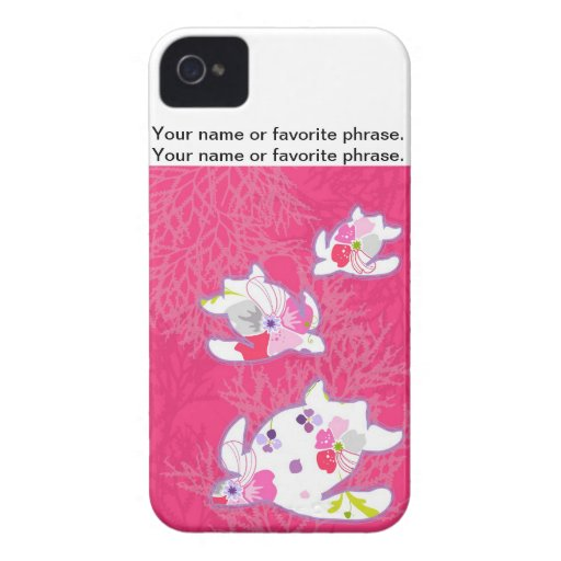 Sea turtle on pink background. iPhone 4 case