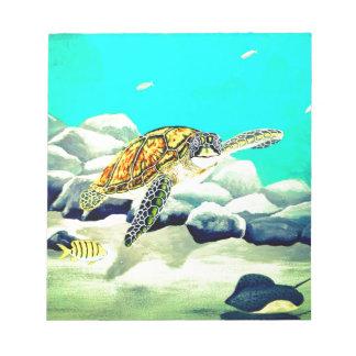 Sea Turtle Painting Beautiful Blue Sea Notepad