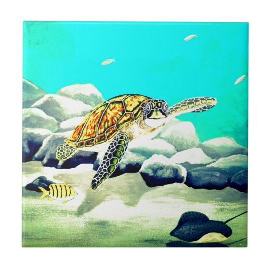 Sea Turtle Painting Beautiful Blue Sea Small Square Tile