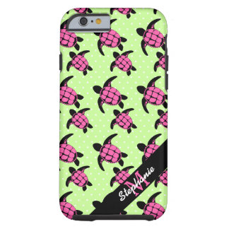 Sea Turtle Pattern Pink and Black Tough iPhone 6 Case