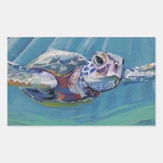 Sea turtle rectangular sticker