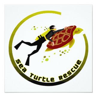 Sea Turtle Rescue 13 Cm X 13 Cm Square Invitation Card
