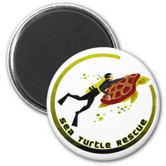Sea Turtle Rescue 6 Cm Round Magnet