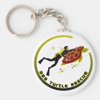 Sea Turtle Rescue Basic Round Button Key Ring