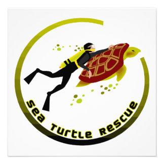 Sea Turtle Rescue Personalized Invitations