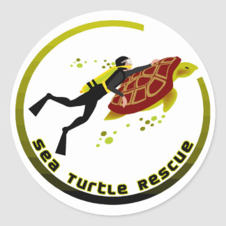 Sea Turtle Rescue Round Sticker