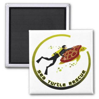 Sea Turtle Rescue Square Magnet