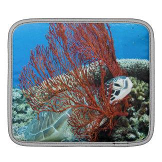 Sea turtle resting underwater 2 iPad sleeve