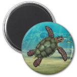 Sea Turtle Round 6 Cm Round Magnet